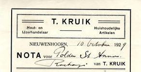 NN_KRUIK_001 Nieuwenhoorn, Kruik - T. Kruik, Hout- en ijzerhandelaar. Huishoudelijke artikelen, (1929)