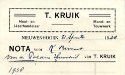 NN_KRUIK_002 Nieuwenhoorn, Kruik - T. Kruik, Hout- en ijzerhandelaar. Mand- en touwwerk, (1938)