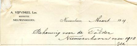 NN_VIJFVINKEL_001 Nieuwenhoorn, Vijfvinkel - A. Vijfvinkel Lzn., Kooistee, (1919)