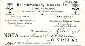 NN_VRIJ_001 Nieuwenhoorn, Vrij - Boomkweekerij Kweeklust . Speciale cultuur van vruchtboomen, boschplantsoen. Opgaande ...