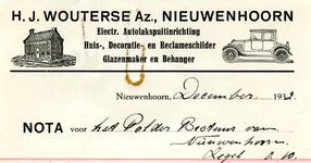 NN_WOUTERSE_003 Nieuwenhoorn, Wouterse - H.J. Wouterse Az., Electr. Autolakspuitinrichting. Huis-, Decoratie- en ...