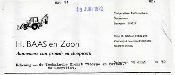 OH_BAAS_001 Oudenhoorn, Baas - H. Baas en Zoon, Aannemers van grond- en sloopwerk, (1972)