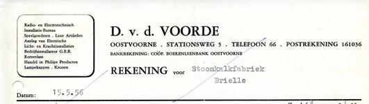 OV_VOORDE_004 Oostvoorne, V.d. Voorde - D. v.d. Voornde. Radio- en electrotechnisch installatie-bureau. Speelgoederen, ...