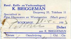 RO_BRIGGEMAN_005 Rockanje, Briggeman - K. Briggeman, Rund-, kalfs- en varkensslagerij. Specialiteit in fijne vleeswaren ...