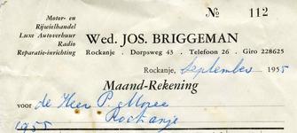 RO_BRIGGEMAN_006 Rockanje, Briggeman - Wed. Jos. Briggeman, Motor- en rijwielhandel. Luxe autoverhuur. Radio. ...