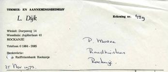 RO_DIJK_001 Rockanje, Dijk - Timmer- en Aannemingsbedrijf L. Dijk, (1972)