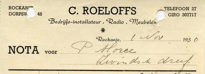 RO_ROELOFFS_003 Rockanje, Roeloffs - Bedrijfs-installateur, Radio. Meubelen, C. Roeloffs, (1950)