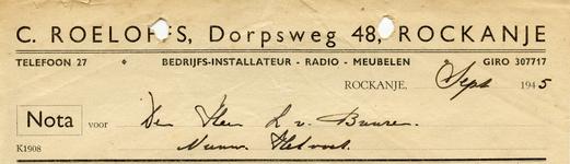 RO_ROELOFFS_006 Rockanje, Roeloffs - Bedrijfs-installateur, Radio. Meubelen, (1945)