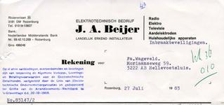 RZ_BEIJER_002 Rozenburg, Beijer - J.A. Beijer, Elektrotechnisch bedrijf. Landelijk erkend installateur. Radio, Elektro, ...