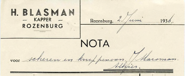 RZ_BLASMAN_001 Rozenburg, Blasman - H. Blasman, Kapper, (1936)