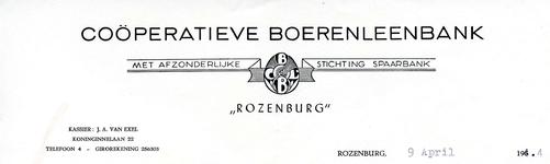 RZ_BOERENLEENBANK_002 Rozenburg, Boerenleenbank - Coöperatieve Boerenleenbank met afzonderlijke stichting spaarbank, (1954)