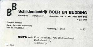 RZ_BOER_004 Rozenburg, Boer en Budding - Schildersbedrijf Boer en Budding, (1975)