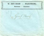 RZ_BOER_009 Rozenburg, Boer - W. den Boer, Metselaar - Aannemer (ENVELOPPE)