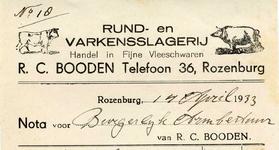 RZ_BOODEN_001 Rozenburg, Booden - Rund- en varkensslagerij R.C. Booden. Handel in fijne vleeschwaren, (1933)