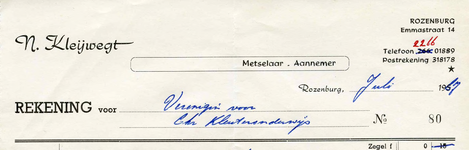 RZ\_KLEIWEGT_011 Rozenburg, Kleijwegt - N. Kleijwegt. Metselaar - Aannemer, (1967)