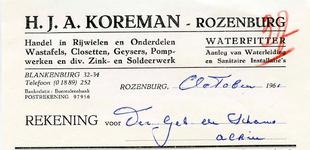 RZ_KOREMAN_001 Rozenburg, Koreman - H.J.A. Koreman. Handel in rijwielen en onderdelen. Wastafels, closetten, geysers, ...