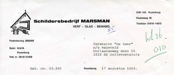 RZ_MARSMAN_002 Rozenburg, Marsman - Schildersbedrijf Marsman. Verf - Glas - Behang, (1983)