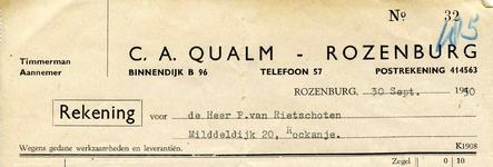 RZ_QUALM_001 Rozenburg, Qualm - C.A. Qualm, Timmerman - Aannemer, (1950)