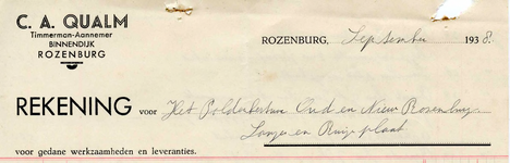 RZ_QUALM_002 Rozenburg, Qualm - C.A. Qualm, Timmerman-Aannemer, (1938)