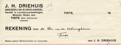 TI_DRIEHUIS_001 Tinte, Driehuis - J.H. Driehuis, smederij en rijwielhandel. Handel in landbouwwerktuigen, motoren, ...