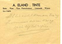 TI_ELAND_001 Tinte, Eland - A. Eland, Boter, kaas, fijne vleeschwaren, limonade, wijnen (ENVELOPPE), (z.d)
