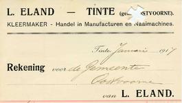 TI_ELAND_002 Tinte, Eland - L. Eland, Kleermaker. Handel in manufacturen en naaimachines, (1917)