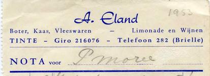 TI_ELAND_003 Tinte, Eland - A. Eland, Boter, kaas, vleeswaren, limonade en wijnen, (1953)