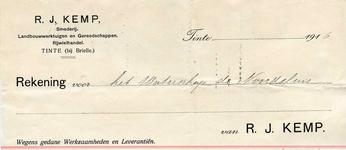 TI_KEMP_001 Tinte, Kemp - R.J. Kemp, Smederij, Landbouwwerktuigen en gereedschappen. Rijwielhandel, (1916)