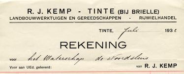 TI_KEMP_002 Tinte, Kemp - R.J. Kemp, Landbouwwerktuigen en gereedschappen. Rijwielhandel, (1932)