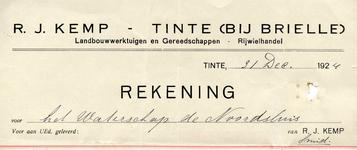 TI_KEMP_003 Tinte, Kemp - R.J. Kemp, Landbouwwerktuigen en gereedschappen. Rijwielhandel, (1924)