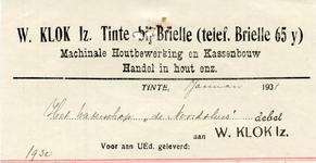 TI_KLOK_005 Tinte, Klok - W. Klok Iz., Machinale houtbewerking en kassenbouw. Handel in hout enz., (1931)