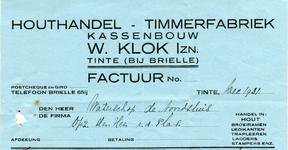 TI_KLOK_007 Tinte, Klok - W. Klok Izn., Houthandel - Timmerfabriek, kassenbouw. Handel in: hout, broeiramen, ...