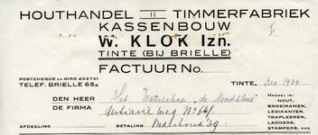 TI_KLOK_008 Tinte, Klok - W. Klok Izn., Houthandel, timmerfabriek, kassenbouw. Handel in: hout, broeiramen, ledikanten, ...