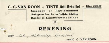 TI_ROON_001 Tinte, Van Roon - C.C. van Roon, Smederij en Rijwielhandel, autogeen lasch- en snij-inrichting. Handel in ...