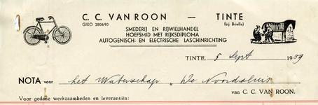 TI_ROON_002 Tinte, Van Roon - C.C. van Roon, Smederij en rijwielhandel. Hoefsmid met rijksdiploma. Autogenisch- en ...