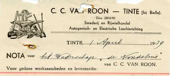 TI_ROON_003 Tinte, Van Roon - C.C. van Roon, Smederij en Rijwielhandel. Autogenisch- en Electrische laschinrichting, (1939)