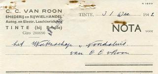 TI_ROON_005 Tinte, Van Roon - C.C. van Roon, Smederij en rijwielhandel. Autogenisch- en Electrische laschinrichting, (1942)