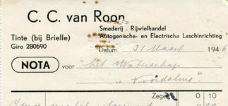 TI_ROON_006 Tinte, Van Roon - C.C. van Roon, Smederij, Rijwielhandel. Autogenische- en Electrische laschinrichting, (1946)