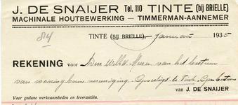 TI_SNAIJER_001 Tinte, De Snaijer - J. de Snaijer, Timmerman - Aannemer. Machinale houtbewerking, (1935)