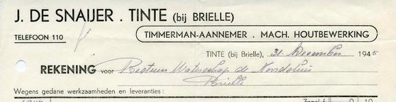 TI_SNAIJER_003 Tinte, De Snaijer - J. de Snaijer, Timmerman - Aannemer. Machinale houtbewerking, (1945)