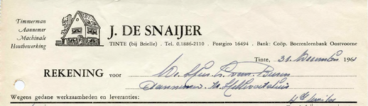 TI_SNAIJER_004 Tinte, De Snaijer - J. de Snaijer, Timmerman - Aannemer. Machinale houtbewerking, (1961)