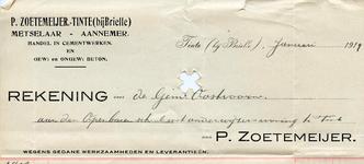 TI_ZOETEMEIJER_001 Tinte, Zoetemeijer - P. Zoetemeijer, Metselaar - Aannemer. Handel in cementwerken en gewapend en ...