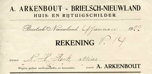 VP_ARKENBOUT_001 Vierpolders, Arkenbout - A. Arkenbout Brielsch Nieuwland Huis- en rijtuigschilder, (1922)