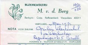 VP_BERG_001 Vierpolders, v.d. Berg - Bloemkwekerij M. v.d. Berg, (1970)