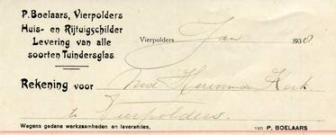 VP_BOELAARS_001 Vierpolders, Boelaars - P. Boelaars, Huis- en rijtuigschilder. Levering van alle soorten tuindersglas, (1938)