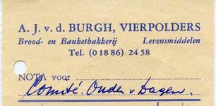 VP_BURGH_003 Vierpolders, van der Burgh - A.J. van der Burg, Brood- en Banketbakkerij. Levensmiddelen, (1960)