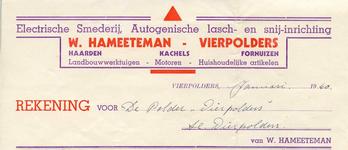 VP_HAMEETEMAN_001 Vierpolders, Hameeteman - Electrische smederij, Autogenische lasch- en snij-inrichting W. Hameeteman. ...