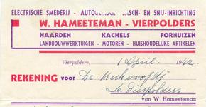 VP_HAMEETEMAN_002 Vierpolders, Hameeteman - Electrische smederij, Autogenische lasch- en snij-inrichting W. Hameeteman. ...