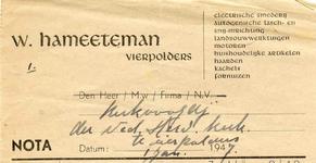 VP_HAMEETEMAN_004 Vierpolders, Hameeteman - W. Hameeteman, electrische smederij, Autogenische lasch- en ...