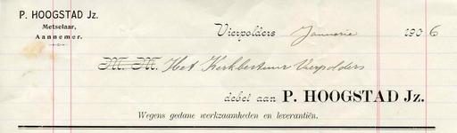 VP_HOOGSTAD_001 Vierpolders, Hoogstad - P. Hoogstad Jz., Metselaar, Aannemer, (1906)